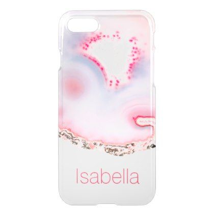 Personalized Pink Agate Gem Crystal Clear case - marble gifts style stylish nature unique personalize