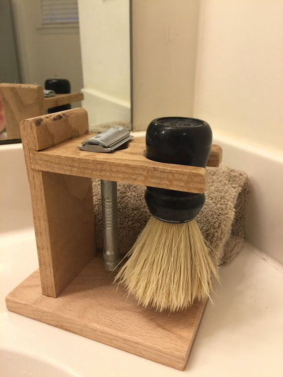 Oak Shaving stand for razor and brush.