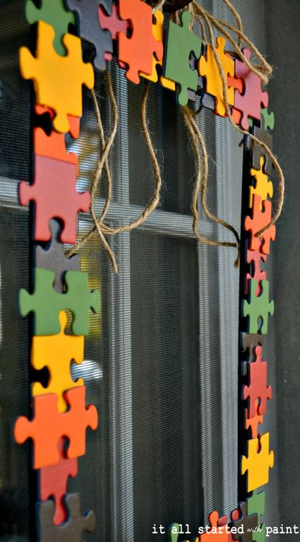 puzzle piece fall wreath-Could be really cool for autism awareness month.