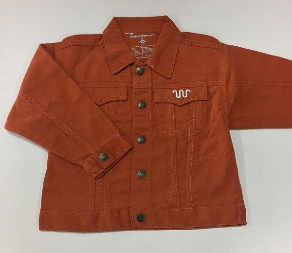 Kids jean jacket in orange with white Running W® on the pocket. | King Ranch Saddle Shop