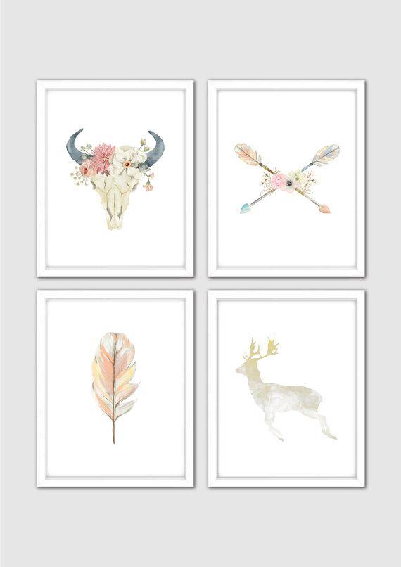 Watercolor Floral Bull Skull Prints, Deer Nursery Print, Antler Wall Art, Deer Skull Print, Bull Print, Tribal Room Decor, Boho Nursery Art