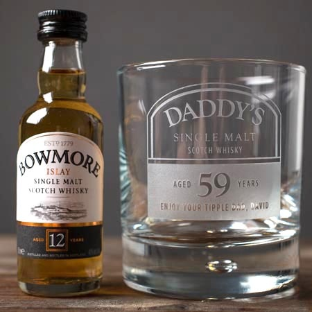 Personalised Whisky Tumbler and Bowmore Miniature - Daddy's