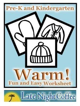 Pre-K and Kindergarten Warm Winter Clothes Worksheet #warmclothes