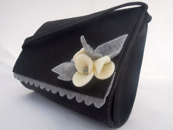 Lovely handmade fashionable medium size felt bag felt purse felted wool handbag cross body with a brooch - black and ecru flowers brooch