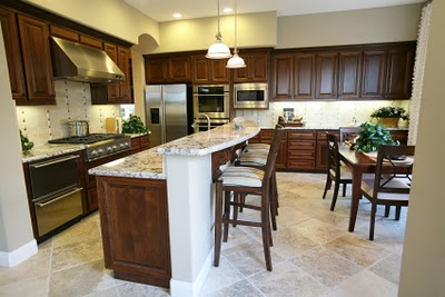 Stained Cabinets with painted fir down | Kitchen Remodel | Pinterest