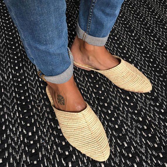 Slipper in raffia quality - handmade - slow fashion