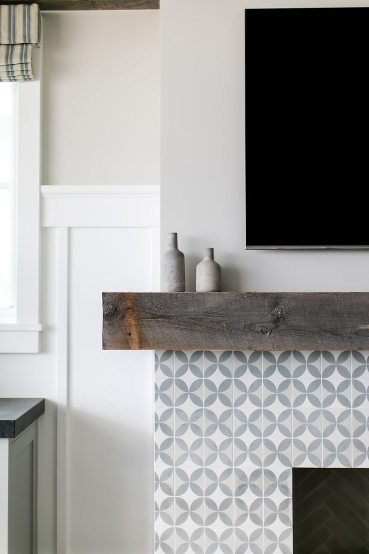 White And Grey Tiled Fireplace Design | Brooke Wagner Design