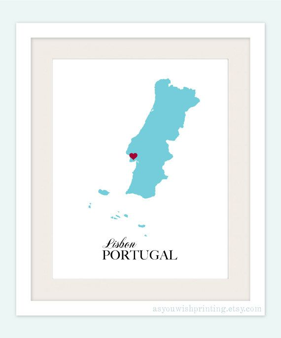 Portugal Country Love Map Silhouette 8x10 Print - Customized