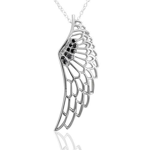 Sterling Silver White Angel Feather Wing Black Diamond Pendant Necklace-0.10 carat Diamond Delight,http://www.amazon.com/dp/B001LG7IMU/ref=cm_sw_r_pi_dp_ItSfsb140896NWR2