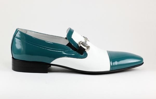 3243 Rina's Couture #Men's #Shoes, #Patent #Leather #Turquoise & White #Loafer Dress Shoe with Buckle  #SS2014 #Spring #2014 #MadeInItaly $420 or #MakeAnOffer