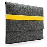 Lavievert Filz Laptoptasche , Handgefertigte Schutzhülle mit Gelbem Elastischem Band für 15 Zoll MacBook Pro / Pro Retina (15 Zoll, Gelb)