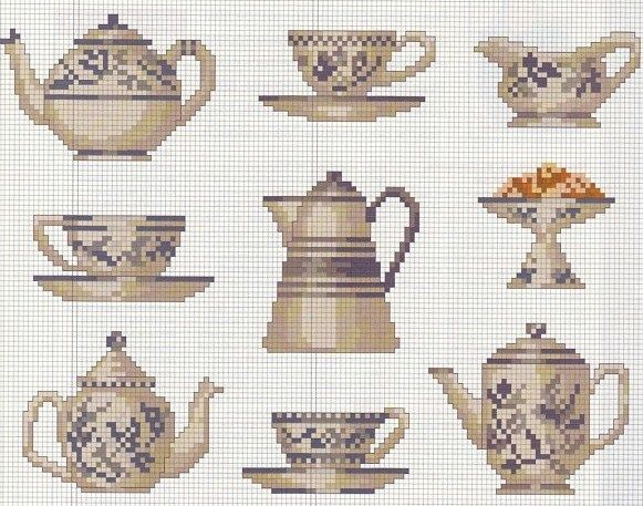 Kitchen patterns / charts for cross stitch, crochet, knitting, knotting, beading, weaving, pixel art, micro macrame, and other crafting projects.