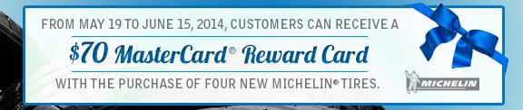 $70 Mastercard Reward Card when you Purchase 4 #New #Michelin #Tires at Route 44 Hyundai- Print Coupon & Schedule Service Here: http://www.route44hyundai.com/?http://route44hyundai.ezytire.com/