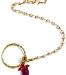 Buy Maroon Pearl Polki Bridal Nose Ring nose-ring online