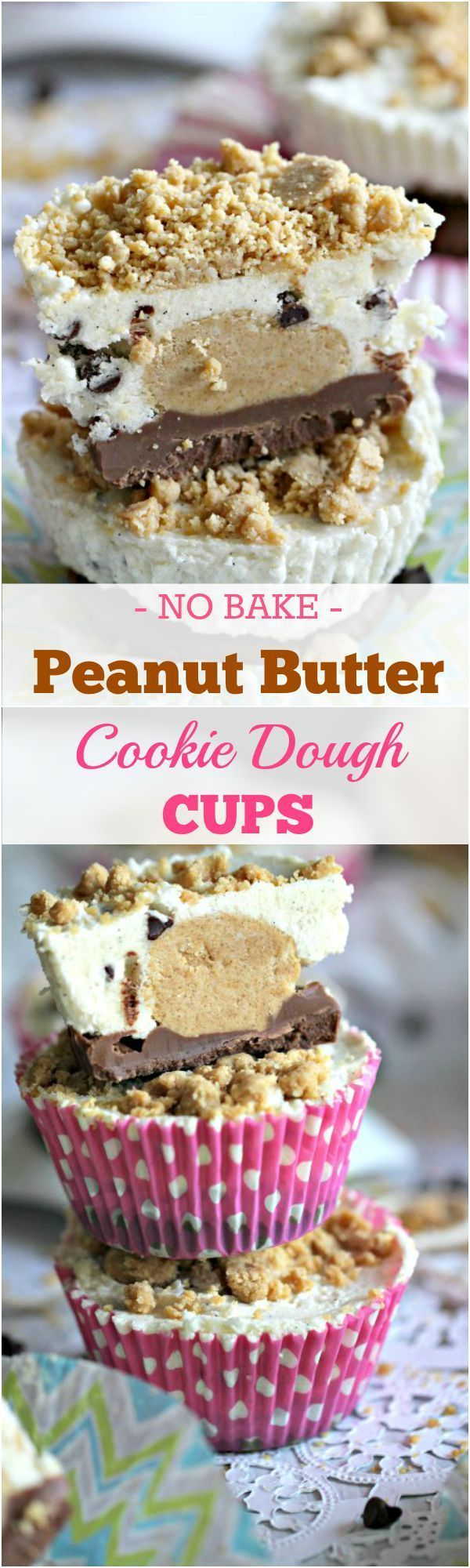No Bake Peanut Butter Cookie Dough Cups - Peas and Peonies