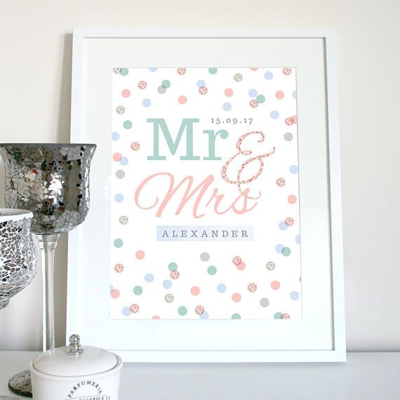 Mr & Mrs CUSTOM NAME and DATE wedding gift wedding present