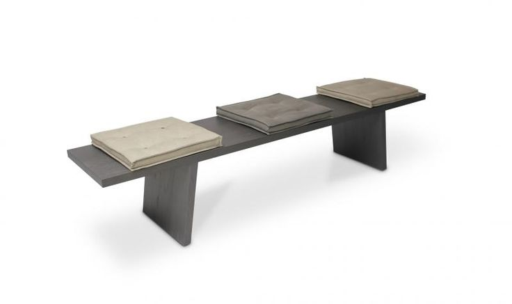 BENCH  In Solid Oak - Cement - Fressato Oak  - Walnut Or Lacquered