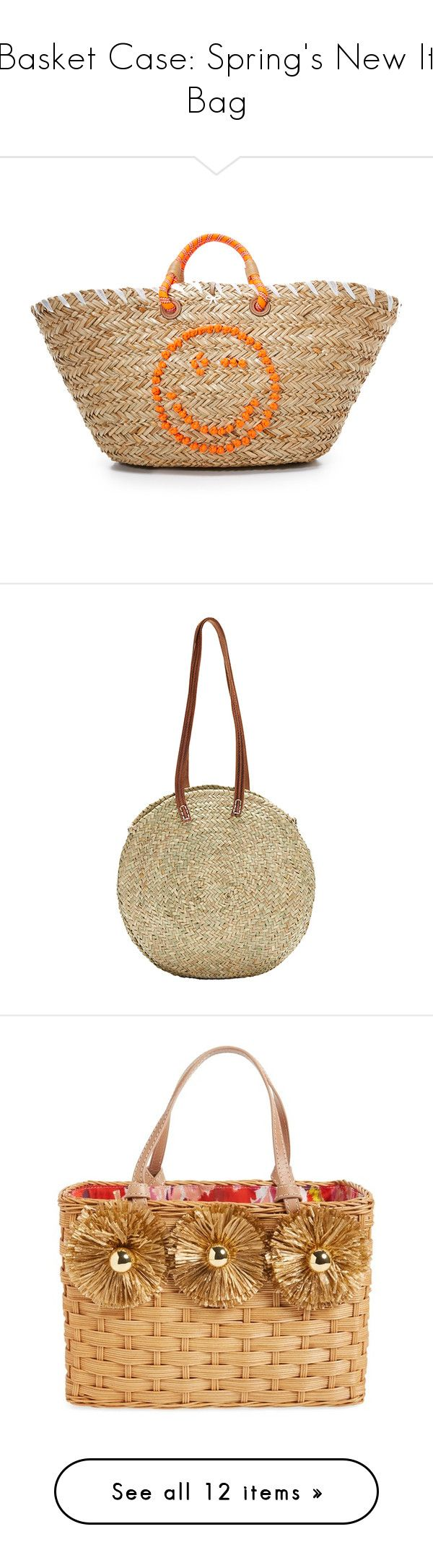 """Basket Case: Spring's New It Bag"" by polyvore-editorial ❤ liked on Polyvore featuring basketbags, bags, handbags, tote bags, natural, anya hindmarch tote, straw tote handbags, beige handbags, handbags totes and tote handbags"