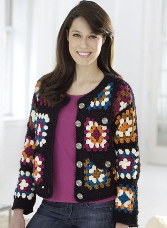 Crochet Easy Granny Square Jacket Free Pattern - #Crochet; Granny Square Jacket Coat Free Patterns