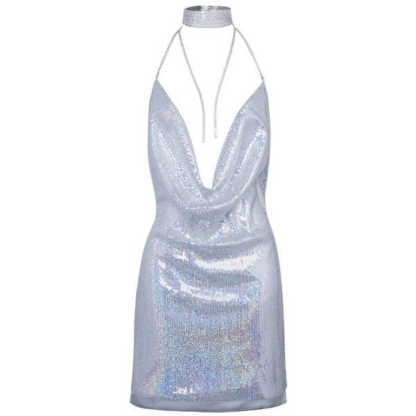 Sexy Silver Cowl Front Open Back Split Side Sequined Clubwear Bodycon... ($30) ❤ liked on Polyvore featuring dresses, body con dresses, sexy cocktail dresses, silver bodycon dress, sexy dresses and bodycon cocktail dresses