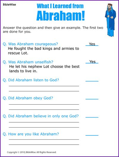answer questions about abraham kids korner biblewise sunday school worksheets activities. Black Bedroom Furniture Sets. Home Design Ideas