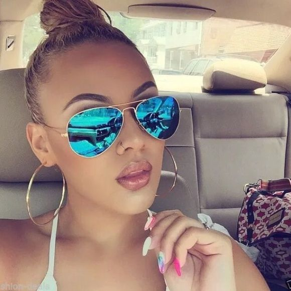 "Alena celebrity blue mirrored aviator sunglasses Alena"" Blue Mirror gold frame Revo Aviator Celebrity Model Women Sunglasses Accessories Glasses"