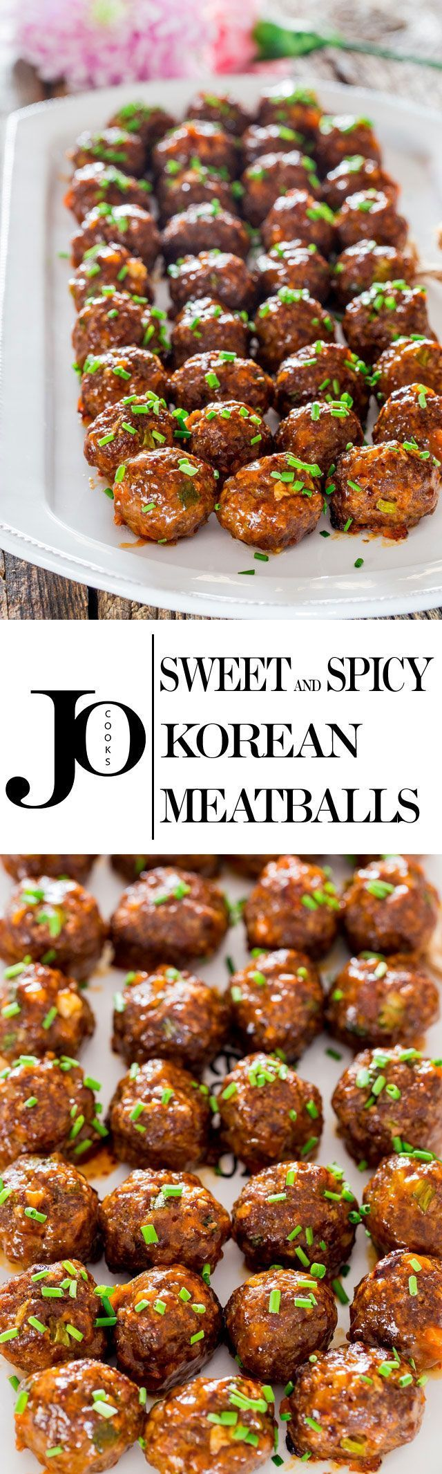 These Sweet and Spicy Korean Meatballs will change your life. They're made with lean beef, flavored with garlic and Sriracha sauce, baked without the hassle of frying and glazed with a spicy apricot glaze.