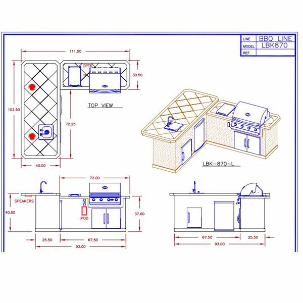 Kitchen Plans With Dimensions: See The Dimensions Of The Cal Flame LBK870 BBQ Grill