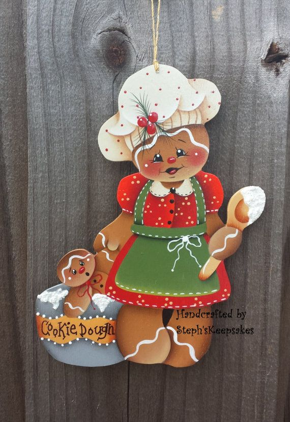 Handpainted Christmas Gingerbread Cookie por stephskeepsakes