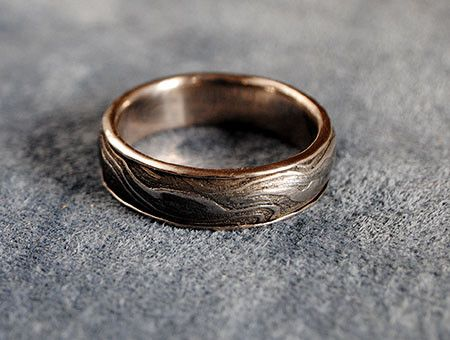 14K White Gold Damascus Steel Ring - riccoartjewelry.com - 1