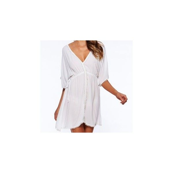 Lace Trim Cover-Up (53 BRL) ❤ liked on Polyvore featuring swimwear, cover-ups, women, white cover up swimwear, white cover up, white swim cover up, chiffon cover up and white swimwear