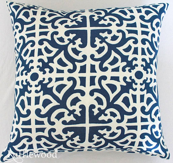 SALE Blue and White Pillow Cover18 Square by Rufflewood on Etsy, $23.00
