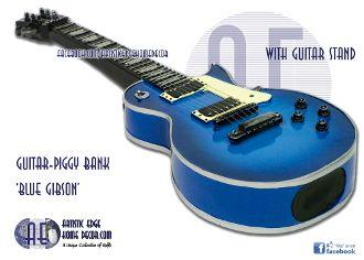 Guitar Money Bank 'Blue Gibson'