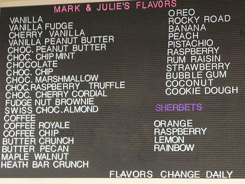 Ice Cream Flavors List | ... : Mark and Julie's Home Made Ice Cream (UPDATED) | Off The Broiler