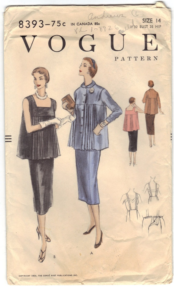 Pattern For Maternity Blouse and Skirt  Size 14  B32   by BearyAmazingEmporium, $37.00