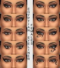 Mod The Sims - 10 Egyptian Eyeliners in Black for Males and Females Teen through Elder