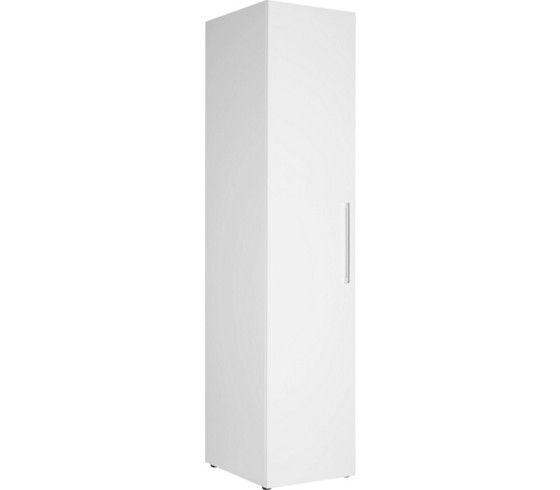 Kleiderschrank in der Farbe Weiß Hochglanz mit einem Einlegeboden und einer Kleiderstange. B/H/T: ca. 45/208/57cm.