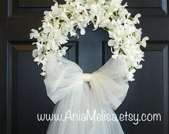 wedding wreath-spring wreath-front door by aniamelisa on Etsy