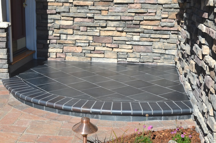 Slate Step With Charcoal Bullnose Brick Front Entries