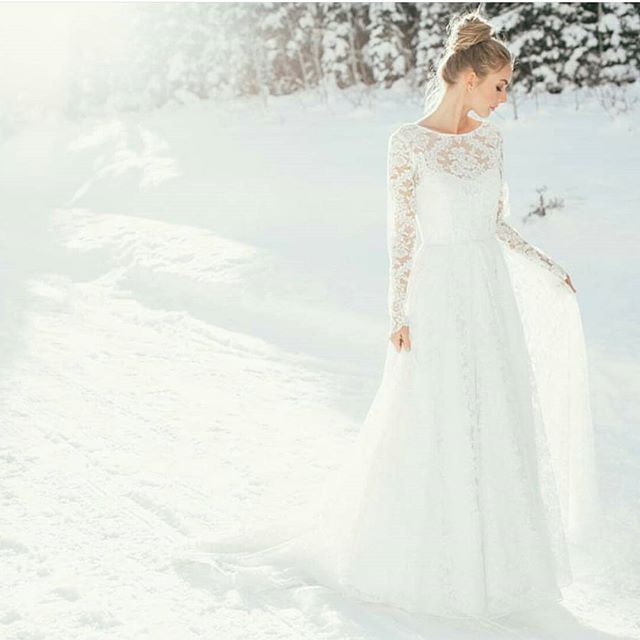 Boat neck lace wedding dress from Jean and Jewel