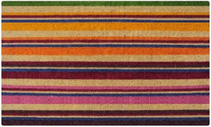 Bright stripy doormat. It's fun and colorful, but I can't help thinking I'd prefer a bit more blue and a bit less pink...