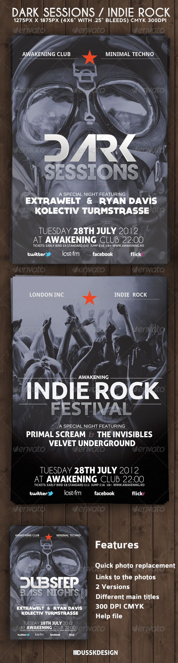 Dark Sessions Indie Rock Flyer