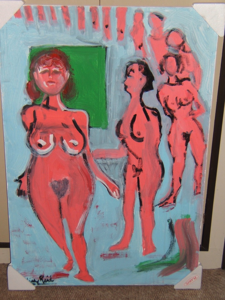 "'Girlfriends'  WG Reid (acrylic on poster board, 36"" x 24""))"
