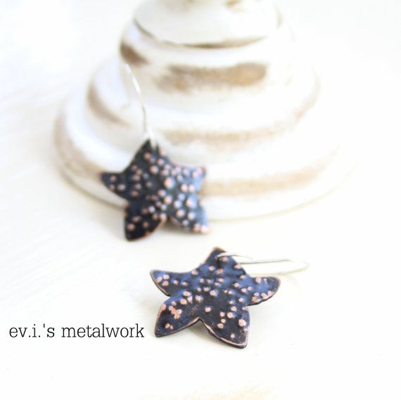 Tiny Stars Dot Textured Black Drop Earrings by evismetalwork, €19.00