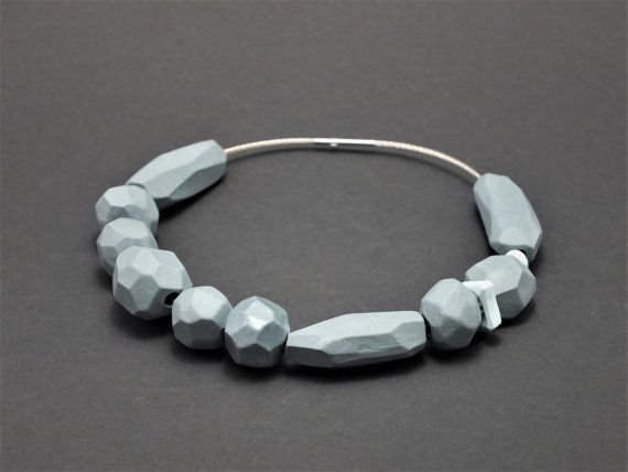 Contemporary ceramic jewelry, faceted porcelain beads, collection asteroids, geomentrical jewelry, porcelain jewelry, futuristic necklace