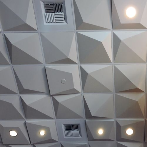 For a more dramatic design, this 4 inch deep contemporary ceiling tile is a great choice.
