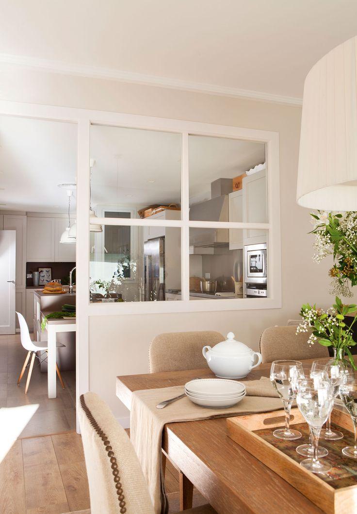 Resultado de imagen de cocina salon con mesa y columna