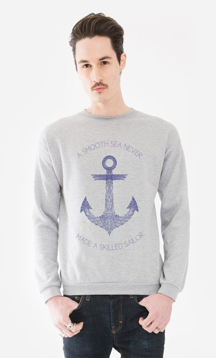 Sweater Man Smooth Sea by Fimbis - Wooop.fr  #fimbis #Wooop #anchor #ancre #blue #style #styleblog #fashion #fashionblogger #fashionblog #styleblogger #sweater #designer #sweatshirt #nautique #marin #bleu #mode #blogdemode #flots #fblogger #chandail #quote #festive #sailor #LaModeFrançaise #francais #geometrique