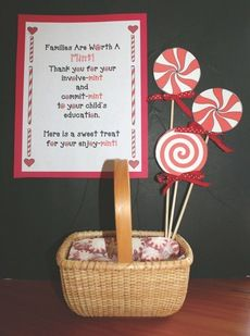 Quick, easy and inexpensive idea to do for Open House or parent-teacher conferences. Fill up a little basket with peppermints or mini butter-mints.  FREE printables.