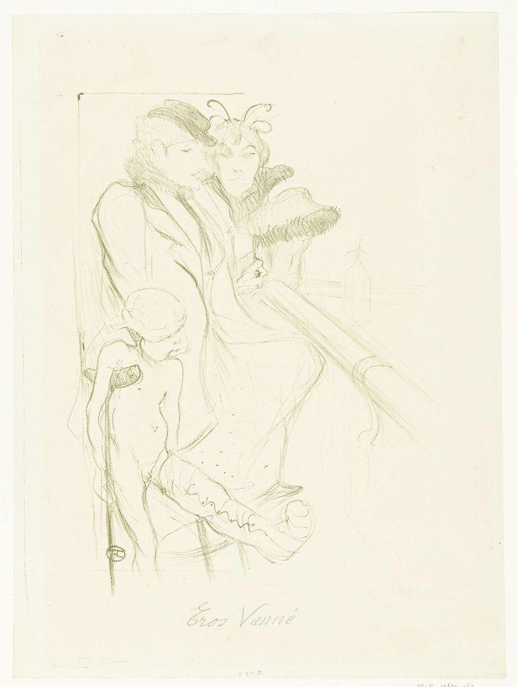 Henri de Toulouse-Lautrec   Twee vrouwen aan bar met Amor op kruk en gebroken been, Henri de Toulouse-Lautrec, Paul Dupont, 1894   Twee vrouwen zitten op barkrukken aan een bar en drinken wat. Amor staat als symbool van de afgewezen of verdwenen liefde bij hen met een ongelukkige uitdrukking op zijn gezicht en verband om zijn hoofd. Hij leunt op een kruk en steekt zijn gebroken been naar voren. Humoristische interpretatie van scène uit dagelijks leven beschreven in lied van Maurice Donnay.
